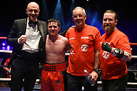 Simon Corcoran (red shorts) defeats Josue Bendana during a Boxing Show at Cliffs Pavilion on 17th February 2020