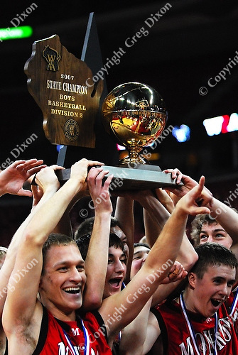 The Monroe Cheesemakers win 52-46 over rival Port Washington in the high school boys basketball Division 2 state championship on Saturday, 3/17/07, at the Kohl Center in Madison, Wisconsin