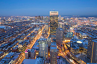 Back Bay & downtown skyline sunset winter snow from Prudential, Boston, MA