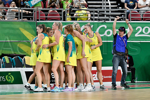 9th April 2018, Gold Coast Convention and Exhibition Centre, Gold Coast, Australia; Commonwealth Games day 5; Netball, Australia versus Fiji; Australia break the huddle ready for the next quarter