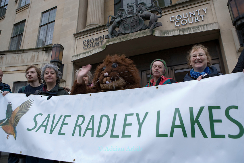 Protestors attmepting to save  Thrupp lake, part of the Radley lakes and  the one threatened to be filled up with fly ash from Didcot power station run by RWE N power
