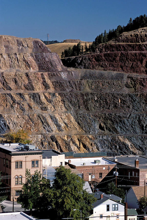 View of Lead South Dakota and the Homestake Mine which was one of the oldest and largest gold mines in the Western Hemisphere reaching 8,000 feet below the town.