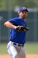 Toronto Blue Jays pitcher Scott Silverstein (55) during a minor league spring training game against the Pittsburgh Pirates on March 26, 2015 at Pirate City in Bradenton, Florida.  (Mike Janes/Four Seam Images)