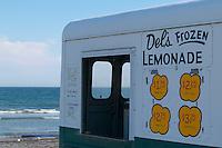 USA, Newport, RI - Del's Frozen Lemonade truck in front of second beach.