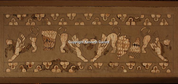 Mosaic gryphon tableau, ivory, alabaster, gypsum; Art, Oxus Civilization; Turkmenistan; Archaeology; Victor Sarianidi; Gonor Depe site; BMAC complex