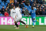 Getafe CF's Amath Ndiaye and Valencia CF's Gabriel Armando de Abreu Paulista during La Liga match between Getafe CF and Valencia CF at Coliseum Alfonso Perez in Getafe, Spain. November 10, 2018.