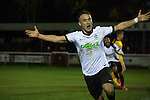 Dover Athletic 2 Cambridge United 4, 17/11/2016. The Crabble, FA Cup first round replay. Home team striker Ricky Miller celebrating opening the scoring at the Crabble as National League Dover Athletic (in white) hosted League 2 Cambridge United in an FA Cup first round replay. The club was founded in 1983 after the dissolution of the town's previous club Dover FC, whose place in the Southern League was taken by the new club. Cambridge United won the tie by 4-2 after extra time, watched by a crowd of 1158. Photo by Colin McPherson.