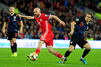 Jonny Williams of Wales Luka Modrić of Croatia during the UEFA Euro 2020 Qualifier between Wales and Croatia at the Cardiff City Stadium in Cardiff, Wales, UK. Sunday 13 October 2019