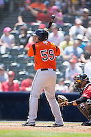 Chris O'Brien (59) of the Bowie Baysox at bat against the Richmond Flying Squirrels at The Diamond on May 24, 2015 in Richmond, Virginia.  The Flying Squirrels defeated the Baysox 5-2.  (Brian Westerholt/Four Seam Images)