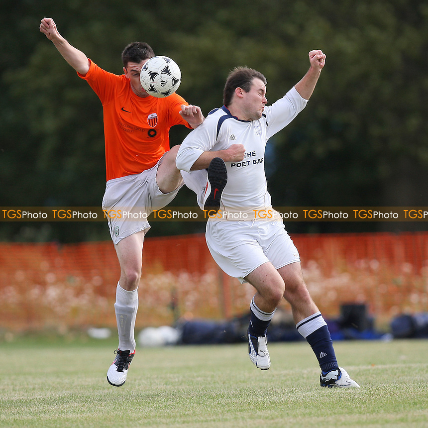 Wounded Knee (white) vs Reach Out (orange/white) - Hackney & Leyton Sunday League Football at South Marsh, Hackney Marshes, London -  09/10/11 - MANDATORY CREDIT: Gavin Ellis/TGSPHOTO - Self billing applies where appropriate - 0845 094 6026 - contact@tgsphoto.co.uk - NO UNPAID USE.