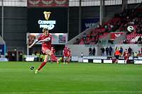 Rhys Patchell of Scarlets kicks his sides second conversion during the Guinness Pro14 Round 5 match between Scarlets and Isuzu Southern Kings at the Parc Y Scarlets in Llanelli, Wales, UK. Saturday 29 September 2018