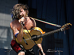 Eugene Hutz of Gogol Bordello performs during the Hangout Music Fest in Gulf Shores, Alabama on May 19, 2012.