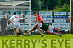 Padraig Looney East Kerry turns slides the ball past  Eoghan Ruadh goalkeeper Tadhg O'Connor during the u16 County Championship semi final in Killarney on Sunday