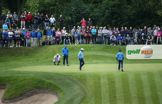 Graeme McDowell (NIR) circumnavigates the 2nd green during Round Two of the 2016 BMW PGA Championship over the West Course at Wentworth, Virginia Water, London. 27/05/2016. Picture: Golffile | David Lloyd. <br /> <br /> All photo usage must display a mandatory copyright credit to &copy; Golffile | David Lloyd.