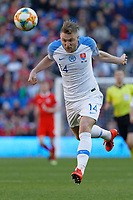 Milan Skriniar of Slovakia heads the ball during the UEFA EURO 2020 Qualifier match between Wales and Slovakia at the Cardiff City Stadium, Cardiff, Wales, UK. Sunday 24 March 2019