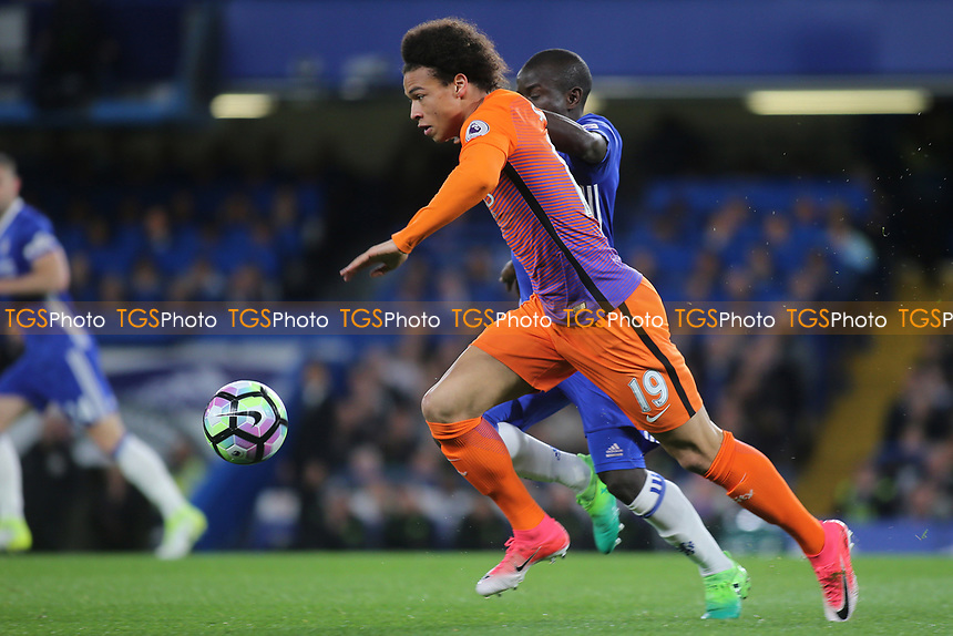 Leroy Sane of Manchester City races upfield during Chelsea vs Manchester City, Premier League Football at Stamford Bridge on 5th April 2017