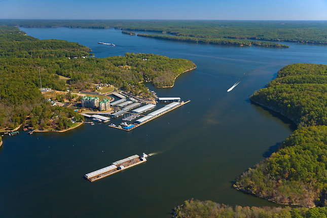 Barges pass Grand Harbor enroute to Tombigbee