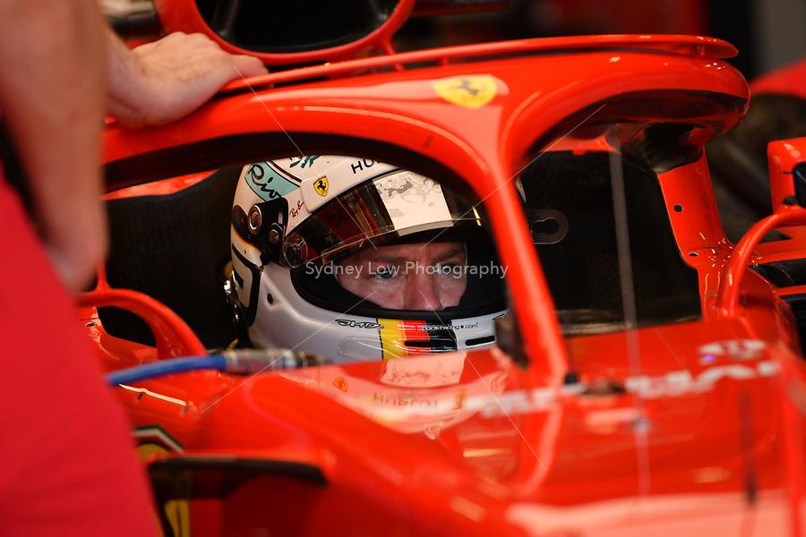 March 23, 2018: Sebastian Vettel (DEU) #5 from the Scuderia Ferrari team sits in his car during practice session two at the 2018 Australian Formula One Grand Prix at Albert Park, Melbourne, Australia. Photo Sydney Low