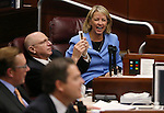 Nevada Senators Joe Hardy, R-Boulder City, and Barbara Cegavske, R-Las Vegas, react to their final vote on the Assembly Tesla bills during the second day of a special session at the Nevada Legislature, in Carson City, Nev., on Thursday, Sept. 11, 2014. Lawmakers are considering a complex deal to bring Tesla Motors to Nevada. (AP Photo/Cathleen Allison)