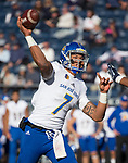 San Jose State quarterback Montel Aaron throws against Nevada in the first half of an NCAA college football game in Reno, Nev. Saturday, Nov. 11, 2017. (AP Photo/Tom R. Smedes)