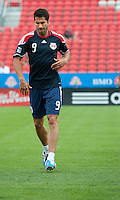 August 21 2010 New York Red Bulls forward Juan Pablo Angel # 9 warms up during a game between the New York Red Bulls and Toronto FC at BMO Field in Toronto..The New York Red Bulls won 4-1.