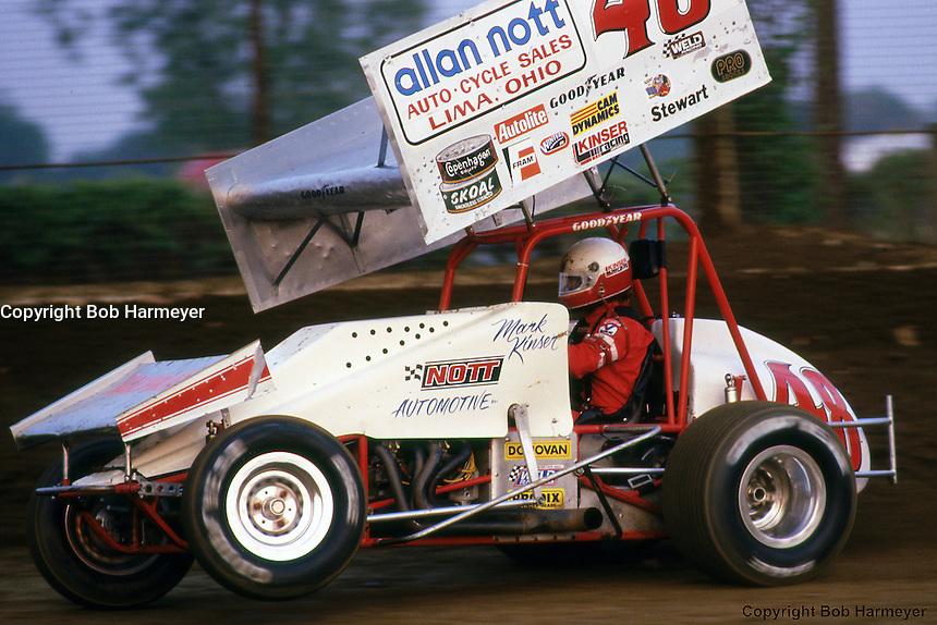 Mark Kinser drives in the 1987 World of Outlaws race near Kokomo, Indiana.