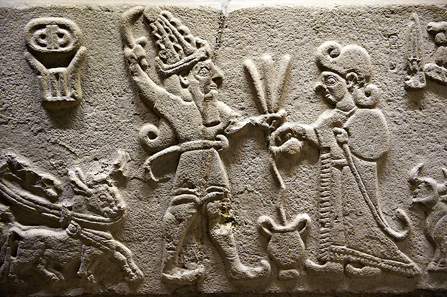 """Photo of Neo-Hittite orthostat from Karkamis, Turkey. Museum of Anatolian Civilisations, Ankara.  The meeting of the """"Storm God"""" on right and a King on the left. 1"""