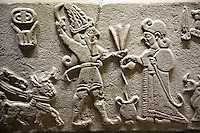 "Photo of Neo-Hittite orthostat from Karkamis, Turkey. Museum of Anatolian Civilisations, Ankara.  The meeting of the ""Storm God"" on right and a King on the left. 1"