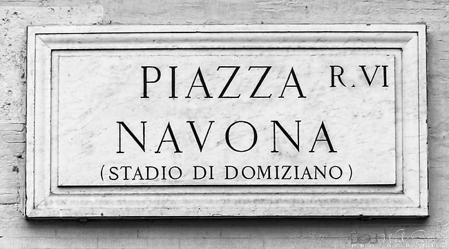 A signpost in the famous Piazza Navona in Rome, Italy.