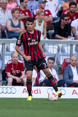 01.08.2013. Munich, Germany.  Andrea Petagna (Milan) Kingsley Boateng of Milan celebrates his goal during the Audi Cup 2013 match between AC Milan 1-0 Sao Paulo FC at Allianz Arena in Munich, Germany.