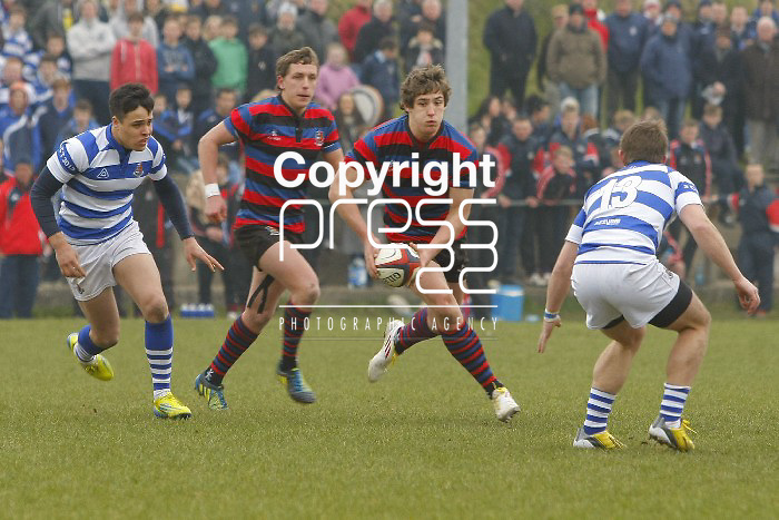 05/03/2013 Shaun O'Donoghue of Rockwell College lines up a tackle on Dan Goggin of St Munchins College in the Munster Schools Senior Cup Semi Final which took place at Clanwilliam Park, Tipperary Picture: Don Moloney / Press 22