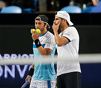 3rd January 2020; RAC Arena, Perth, Western Australia; ATP Cup Australia, Perth, Day 1, Russia versus Italy; Simone Bolelli and Paolo Lorenzi of Italy in the doubles against team Russia - Editorial Use