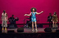 """Daniel Alexander Jones performs in the energetic show, """"Jomama Jones * Radiate"""" on Sept. 26, 2014 in Thorne Hall. Jones is the Theater Department's G. William Hume Fellow, with additional sponsorship from the Politics Department and ICC.<br /> (Photo by Marc Campos, Occidental College Photographer)"""