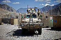 US ARMY Specialist Kahaya Komar's truck stopped at an american base during  a day long logistical mission between Jalalabad and The Pech Valley in Kunar province, Afghanistan on Wednesday  May 1, 2010...Specialist Komar is a radio operator and assistant gunner on logistical convoys with Destro Platoon, Fury Company, 2nd Battalion, 4th Brigade, Task Force Mountain Warrior, 4th Infantry Division..