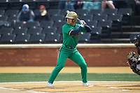 Daniel Jung (31) of the Notre Dame Fighting Irish at bat against the Wake Forest Demon Deacons at David F. Couch Ballpark on March 10, 2019 in  Winston-Salem, North Carolina. The Demon Deacons defeated the Fighting Irish 7-4 in game one of a double-header.  (Brian Westerholt/Four Seam Images)