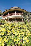 Hawaii: Molokai, The Lodge at Molokai Ranch, a major lodging with a handsome facade, swimming pool, Great Room lobby, and ranch-decor guest roooms..Photo himolo185-72331..Photo copyright Lee Foster, www.fostertravel.com, lee@fostertravel.com, 510-549-2202