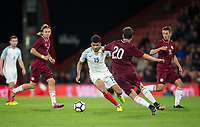 Dominic Solanke (Liverpool) of England U21 heads forward during the UEFA EURO U-21 First qualifying round International match between England 21 and Latvia U21 at the Goldsands Stadium, Bournemouth, England on 5 September 2017. Photo by Andy Rowland.