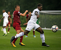 Pictured: Tyler Reid of Swansea (R). Friday 11 August 2017<br /> Re: Premier League 2, Division 1, Swansea City U23 v Liverpool U23 at the Landore Training Ground, Swansea, UK