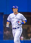 1 April 2016: Toronto Blue Jays designated hitter Michael Saunders in action during a pre-season exhibition series against the Boston Red Sox at Olympic Stadium in Montreal, Quebec, Canada. The Red Sox defeated the Blue Jays 4-2 in the first of two MLB weekend games, which saw an attendance of 52,682 at the former home on the Montreal Expos. Mandatory Credit: Ed Wolfstein Photo *** RAW (NEF) Image File Available ***