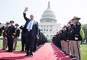 President Donald Trump waves as he arrives at the 37th Annual National Peace Officers' Memorial Service at the U.S. Capitol Building on May 15, 2018 in Washington, D.C. <br /> Credit: Kevin Dietsch / Pool via CNP