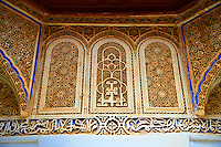 Arabesque plasterwork and Bath room of the  Alaouite Ksar Fida built by Moulay Ismaïl the second ruler of the Moroccan Alaouite dynasty ( reigned 1672–1727 ). Residence of the Khalifa or Caid of Tafilalet until 1965. Tafilalet Oasis, near Rissini, Morocco