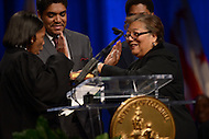 Washington, DC - January 2, 2015: D. C. Councilmember Anita Bonds takes the oath of office during the 2015 inauguration ceremony held at the Washington Convention Center, January 2, 2015. (Photo by Don Baxter/Media Images International)