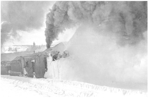 Rotary snowplow clearing snow near Cumbres station.<br /> D&amp;RG  Cumbres, CO