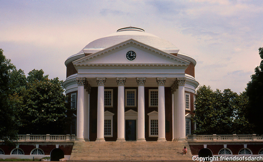 Thomas Jefferson: The Rotunda, Univ. of Virginia, 1822-1826. Elevation. 1/2 scale of Pantheon, Rome.  Photo '85.