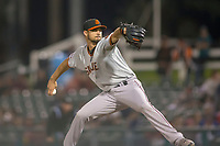 San Jose Giants starting pitcher Tyler Beede delivers a pitch against the Inland Empire 66ers at San Manuel Stadium on April 5, 2018 in San Bernardino, California. (Donn Parris/Four Seam Images)