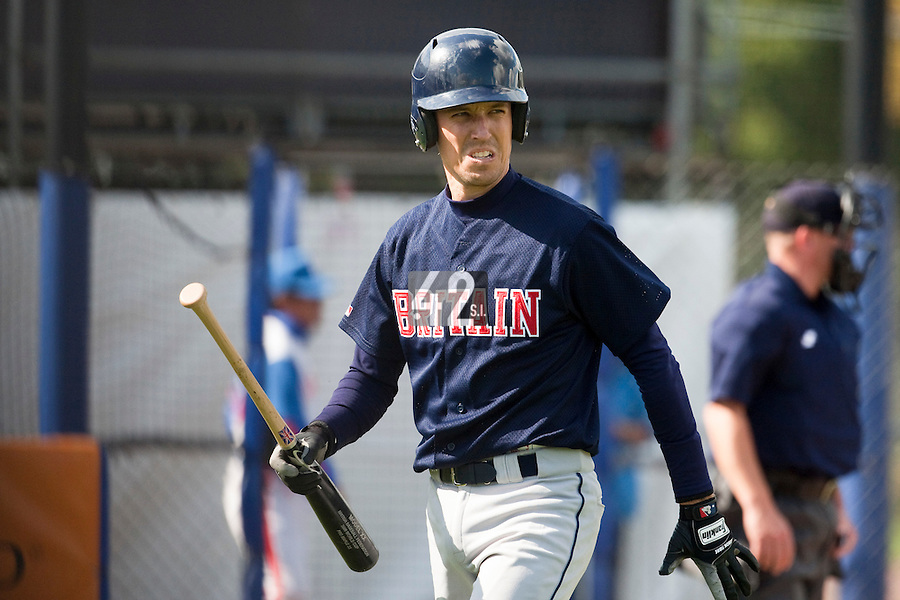 14 September 2009: Jason Holowaty of Great Britain looks dejected after being called out on strikes during the 2009 Baseball World Cup Group F second round match game won 15-5 by South Korea over Great Britain, in the Dutch city of Amsterdan, Netherlands.