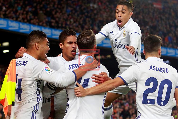 League Santander 2016/2017. Game: 14.<br /> FC Barcelona vs Real Madrid: 1-1.<br /> Casimiro, Varane, Sergio Ramos, Marcos Asensio &amp; Mariano.