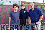 Cónan Griffin on his first day in Glenderry NS on Tuesday with his brother Fionn and grand dad Larry O'Halloran