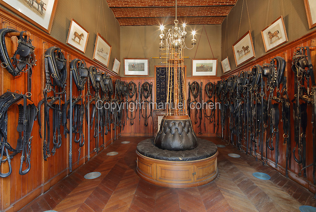 Gala Saddlery, one of the finest saddleries in France, unchanged since the late 19th century, with a major collection of driving harnesses, irons and whips, in the Chateau de Chaumont, Chaumont-sur-Loire, in the Loire Valley, Loir-et-Cher, Centre, France, a 10th century Burgundian castle rebuilt in the 15th century by Charles I d'Amboise. The castle is listed as a historic monument and is part of the Loire Valley UNESCO World Heritage Site. Picture by Manuel Cohen