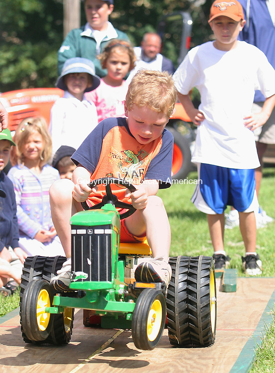 BRIDGWATER, CT- 18 AUGUST 2007-081807JW04-- Tanner Gramacker age 5 of Brookfield competes in the peddle tractor pull event during the Bridgewater Fair Saturday afternoon.  -- --Jonathan Wilcox / Republican-American